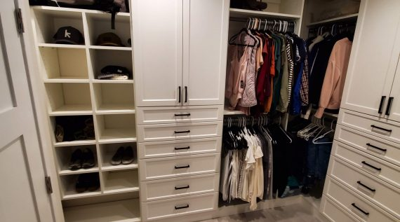 Custom Closet Installations Our closet storage systems feature high-quality shelves and cabinets built specifically to fit your space.  View Products